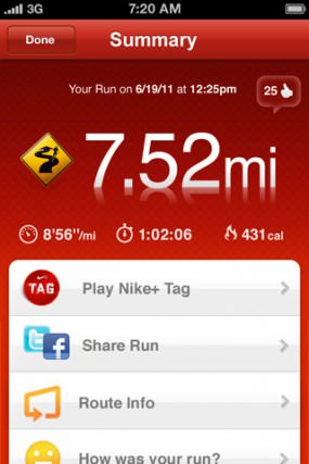 Nike GPS - iPhone Screenshot 1