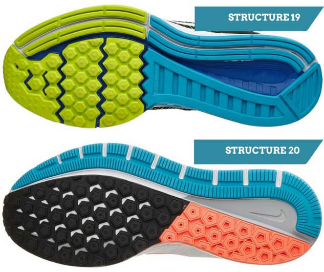 Structure 19 vs 20 outsole comparison