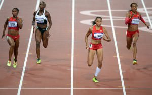 The top four runners in the women's 200m final battling in the final meters of the race.
