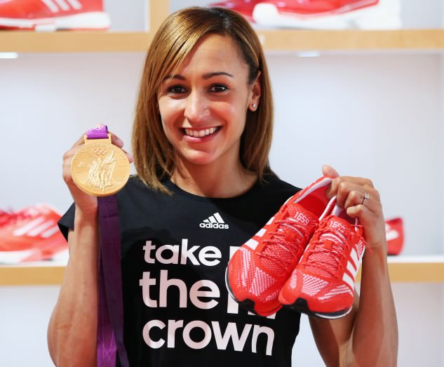 Jessica Ennis with her Gold medal and her Adidas