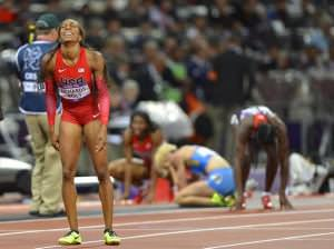 American sprinter Sanya Richards-Ross, just after learning that she won the gold in the 400m race.