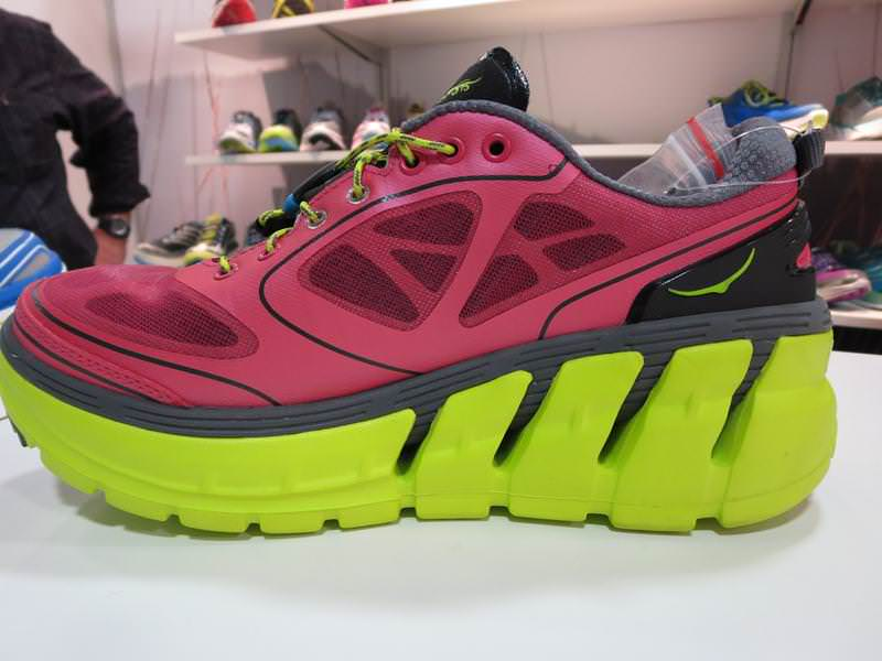 Hoka s most maximal model debuted at Summer Outdoor Retailer 2013 and was  looked at with cheers and jeers alternately. A basically seamless upper  sits on ... c32da8450c7