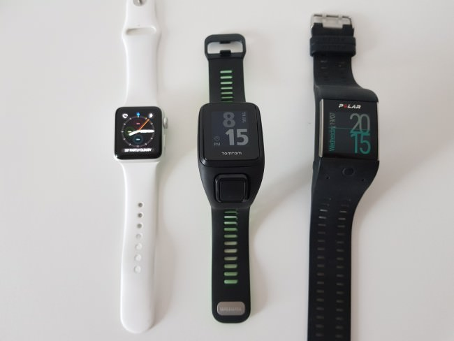 From the left: Apple Watch 2, TomTom Runner 3, Polar M600