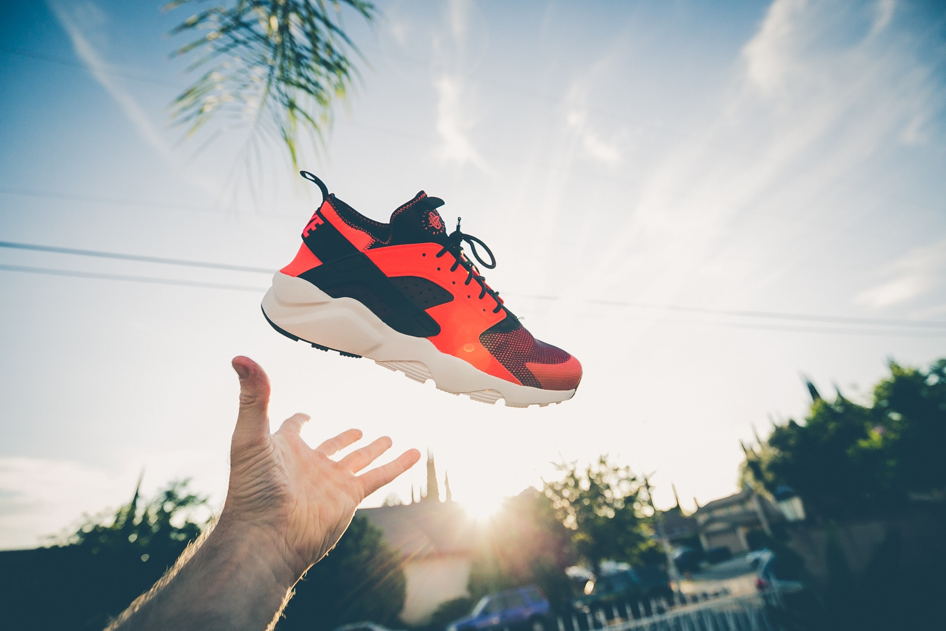 throwing a sport shoe