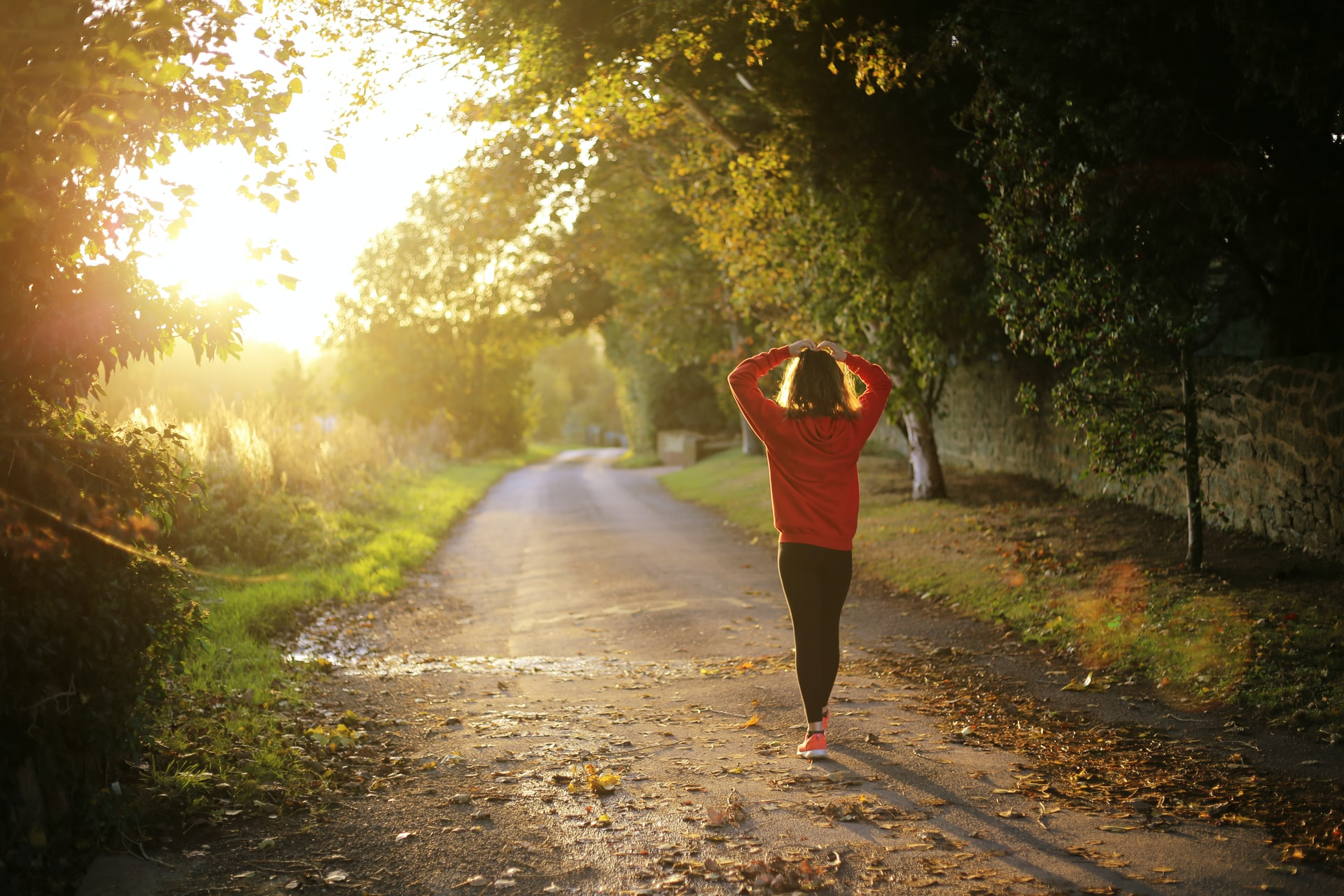 Runner morning arms up for cramp remedy